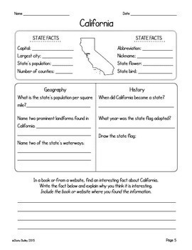 US Geography 50 American States Graphic Organizers for Research and 9 Activities