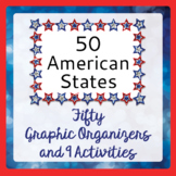 US Geography 50 States Graphic Organizers for Research & 9