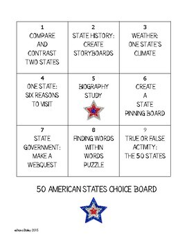 US Geography 50 American States 9 Activities with Choice Board Option