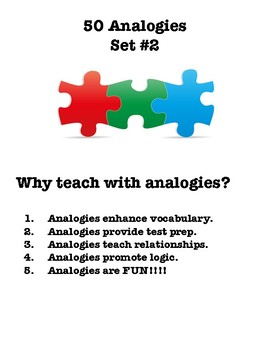 50 Analogies with Word Bank for Test Prep or Vocabulary Practice