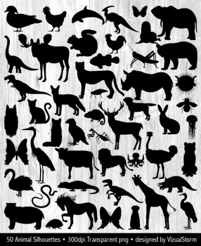 50 Animal Silhouettes Bundle, Woodland, Dinosaurs, Insects, Safari, Farm, Ocean