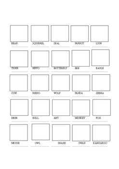 50 Animals Cut and Paste Worksheet