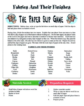 50 Apparel Games & Activities Packet