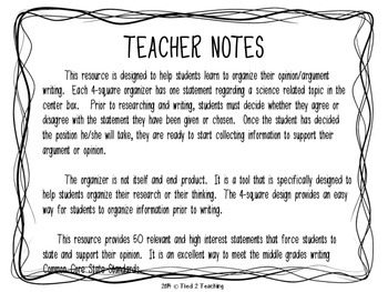 Argument Writing Science Prompts  Statements For The Middle   Argument Writing Science Prompts  Statements For The Middle  Upper  Grades