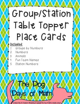 50 Argyle Green and Blue Group Station Table Topper and Labels