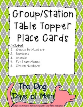 50 Argyle Green and Gray Group Station Table Topper and Labels