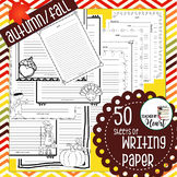 50 Sheets of Autumn/Fall BLACK&WHITE Writing Paper