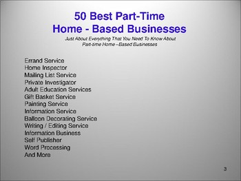 50 Best Part-Time  Home - Based Businesses
