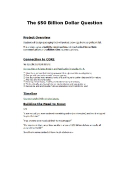 Project Based Learning:  $50 Billion Dollar Question (an egg drop project) STEM!