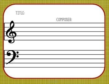 50 Blank Sheet Music / Thanksgiving Activities - Autumn, Composer, November