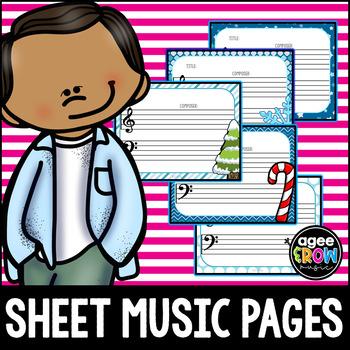 NEW! 50 Blank Sheet Music / Winter Activities - Christmas, Composer, December