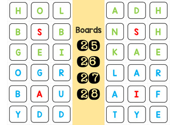 50 Boggle Boards - Whole Class - Independent - Letters to Manipulate