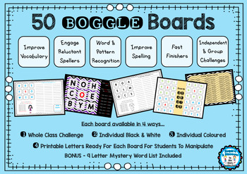 50 Boggle Boards - Whole Class - Independent - Letters to
