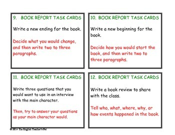 50 Book Report Reading Task Cards