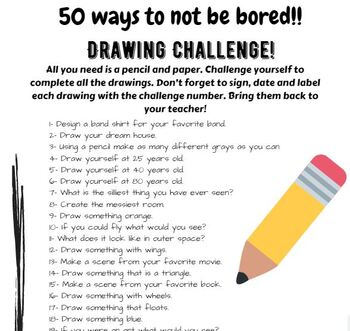50 Boredom Busters -Drawing Ideas & Prompts