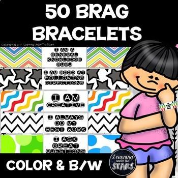 50 Brag Bracelets (Color and Black and White)