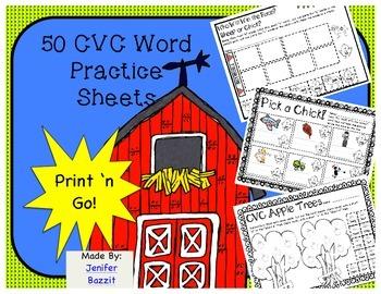 50 CVC Word Practice Pages- Print 'n Go!