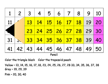 50 Chart Pencil w/Place Value & Ten Frame Cards for Indepe