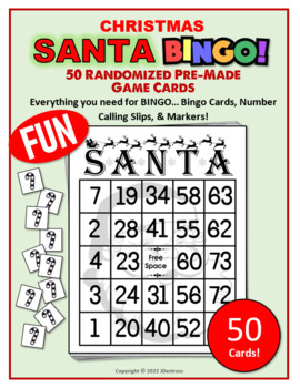 50 Christmas Santa Bingo Cards