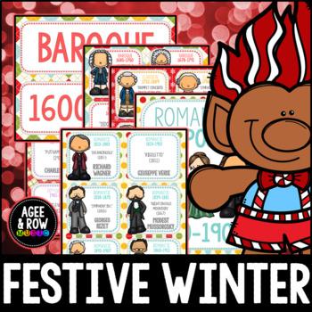 Composer Flashcards (50) December, Winter Activities, Christmas