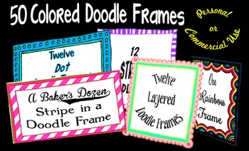 50  Colored Doodle Frames- Commercial Use