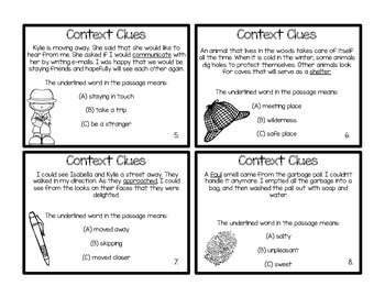 50 Context Clues TASK/FLASH CARDS!! Great for ind-partners-group or morning work