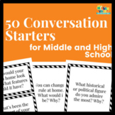 50 Conversation Starters: Middle & High School Speech Therapy (Digital or Print)