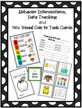 50+ Cue to Task Cards, Behavior Interventions, and Data Tracking Bundle EDITABLE