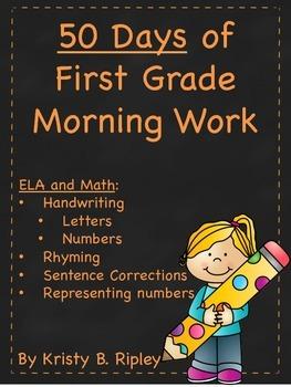 50 Days of First Grade ELA/Math Morning Work