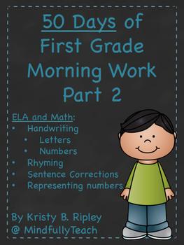 50 Days of First Grade ELA/Math Morning Work Part 2