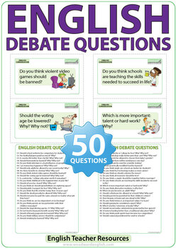 50 Debate Questions in English - Flash Cards for Speaking / Writing Practice