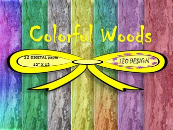 Digital Papers - Colorful Woods - Commercial use