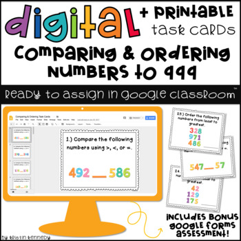 Digital Task Cards for Google Classroom: Comparing & Ordering Numbers to 999
