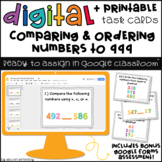 Digital Task Cards for Google Classroom™: Comparing & Ordering Numbers to 999