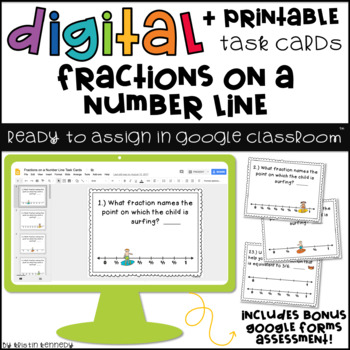 Digital Task Cards for Google Classroom: Fractions on a Number Line