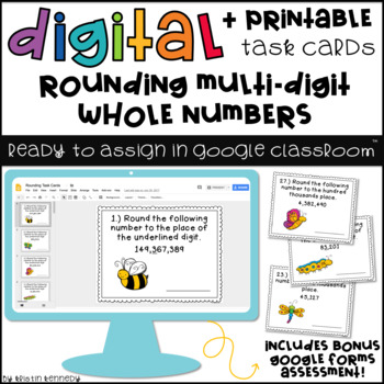 Digital Task Cards for Google Classroom™: Rounding