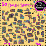 50 Doodle States Clip Art