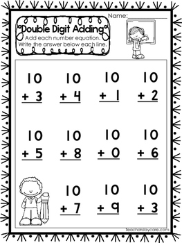50 Double Digit Addition Without Regrouping Printable Worksheets.