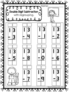 50 Double Digit Subtraction With Regrouping Printable Worksheets.