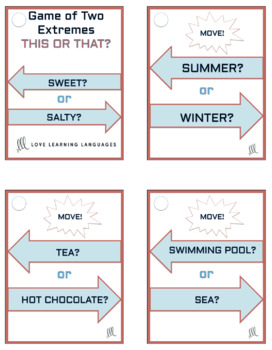 50 ESL - ELL this or that question cards - Game of two extremes