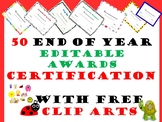50 Editable End of Year awards certification with free cliparts