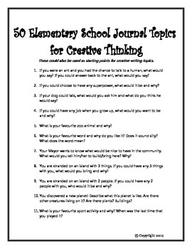 50 Elementary School Journal Topics for Creative Thinking