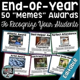 "50 End of the Year ""Memes"" Awards- EDITABLE"