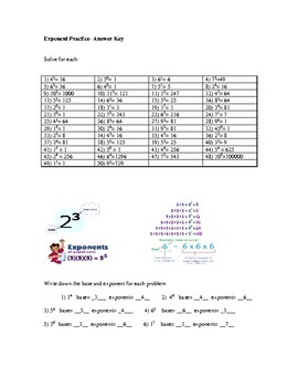 50+ Exponent problems with answer key
