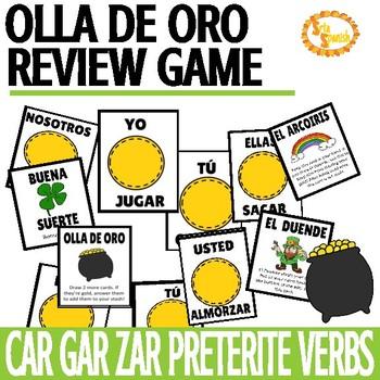 CAR GAR ZAR Preterite Verbs Review Game Olla de Oro
