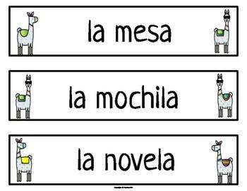 Editable Classroom Labels Llama Theme in Spanish
