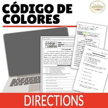 Directions Interpretive Reading Código de Colores Activity