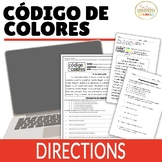 Directions in Spanish Código de Colores Activity