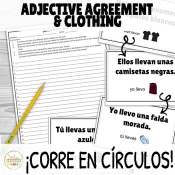 Adjective Agreement with Clothing ¡Corre en Círculos! Activity