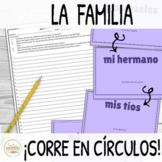Familia Family in Spanish ¡Corre en Círculos! Activity wit